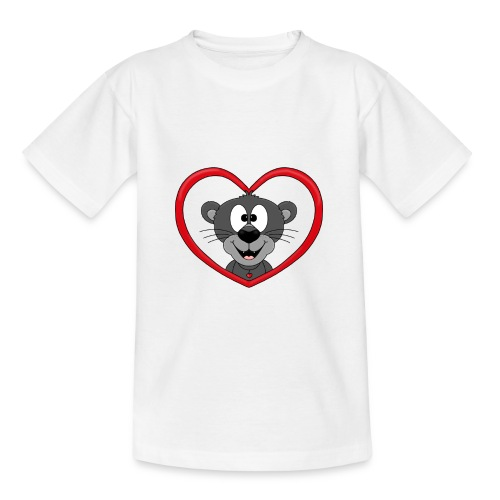 Panther - Herz - Liebe - Love - Tier - Kind - Teenager T-Shirt
