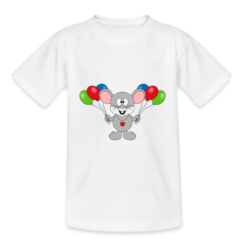 Maus - Luftballons - Geburtstag - Party - Kind - Teenager T-Shirt