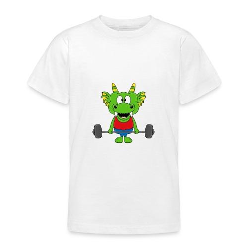 Drache - Dragon - Fitness - Gewichtheber - Sport - Teenager T-Shirt