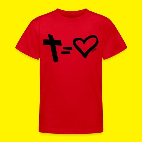 Cross = Heart BLACK - Teenage T-Shirt