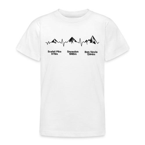 ECG Thee Peaks Light Background - Teenage T-Shirt