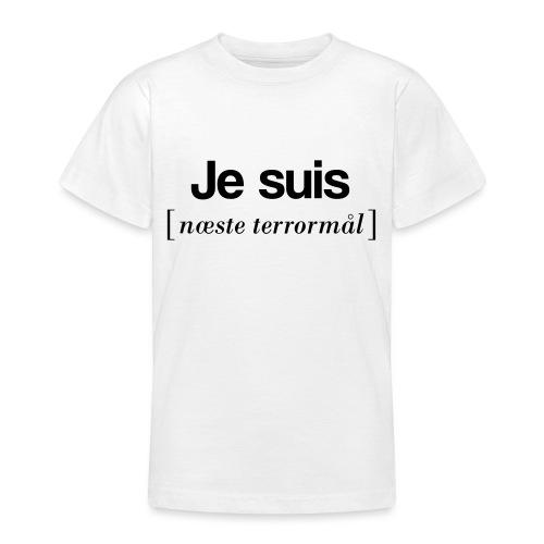 Je suis (sort skrift) - Teenager-T-shirt