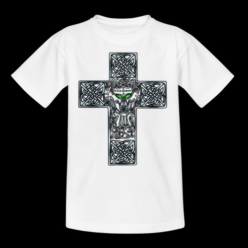 Wolf s Head Cross Silver - Teenage T-Shirt