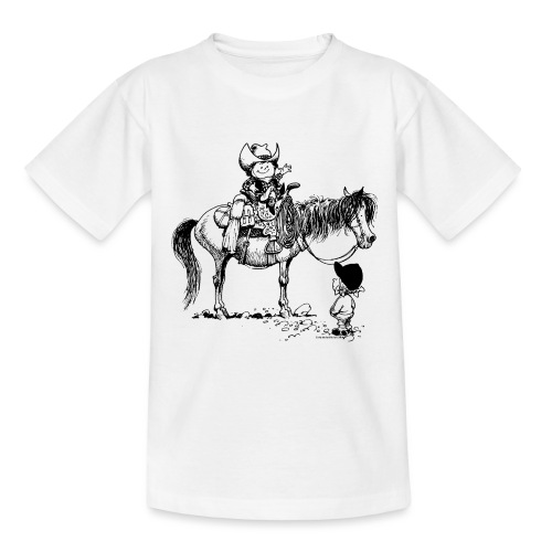 Thelwell Cartoon Cowboy mit seinem Pony - Teenager T-Shirt