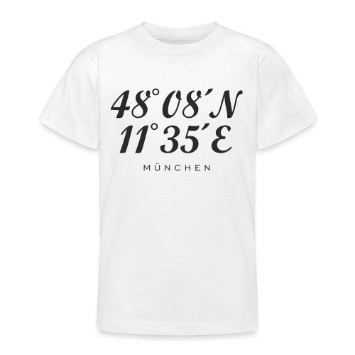 Münchener Koordinaten (Schwarz) München - Teenager T-Shirt