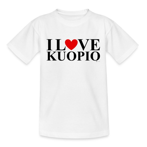 I LOVE KUOPIO (koko teksti, musta) - Nuorten t-paita