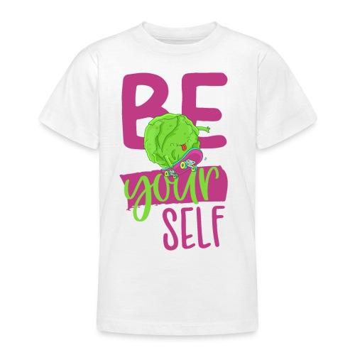 Be yourself happy Veggie Kohlkopf - Vegan Skater - Teenager T-Shirt