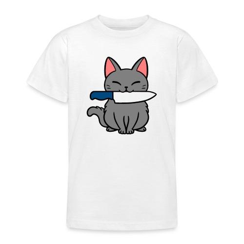 Fröhliche Katze mit Messer - Teenager T-Shirt