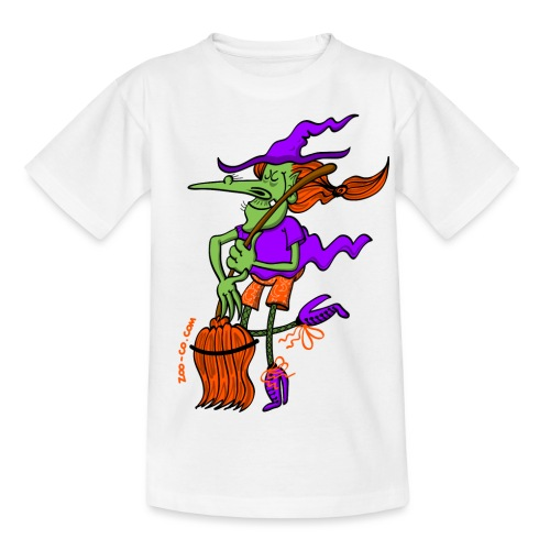 Crazy Witch Dancing with her Broomstick - Teenage T-Shirt