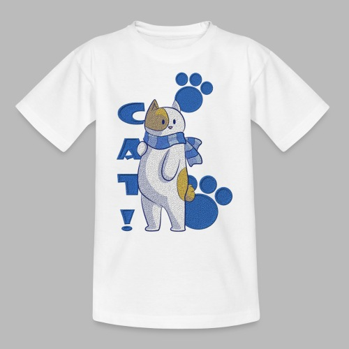 Cute cat with scarf, funny cat with scarf. - Camiseta adolescente
