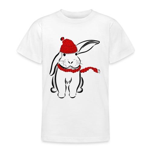 Kaninchen Hase Mütze Schal Schlappohr Schneehase - Teenager T-Shirt