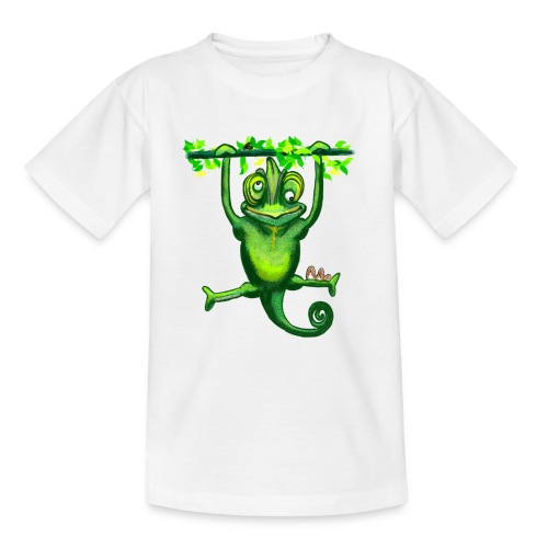 Hunting green chameleon print / design - Teenage T-Shirt