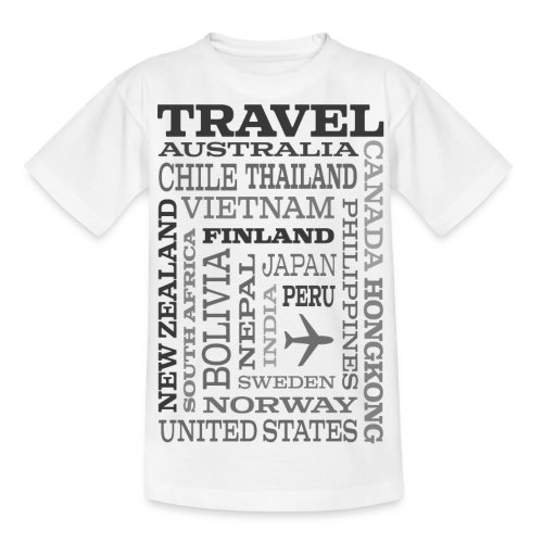 Travel Places Gray design - Nuorten t-paita