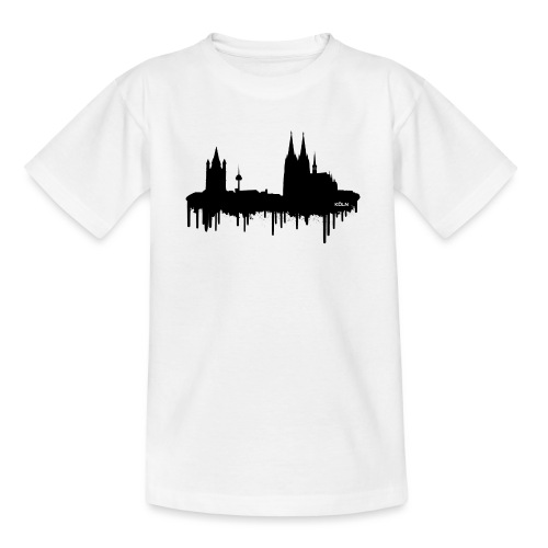 Skyline Köln - Schwarz - Teenager T-Shirt
