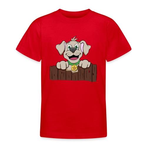 Kleiner Hund schaut über Zaun - Teenager T-Shirt