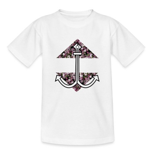 Anker mit Blumenmuster - Teenager T-Shirt