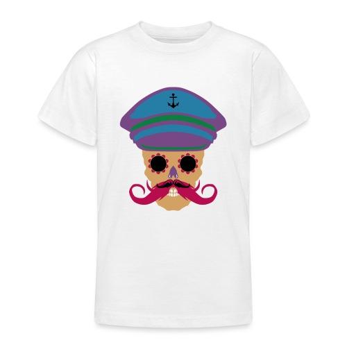 tete de mort fantaisie crane dessin kepi moustache - T-shirt Ado