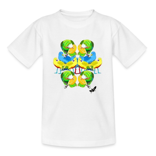 Birds Exotique by BlackenedMoonArts, w. logo - Teenager-T-shirt