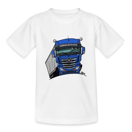 0807 M truck blauw trailer - Teenager T-shirt