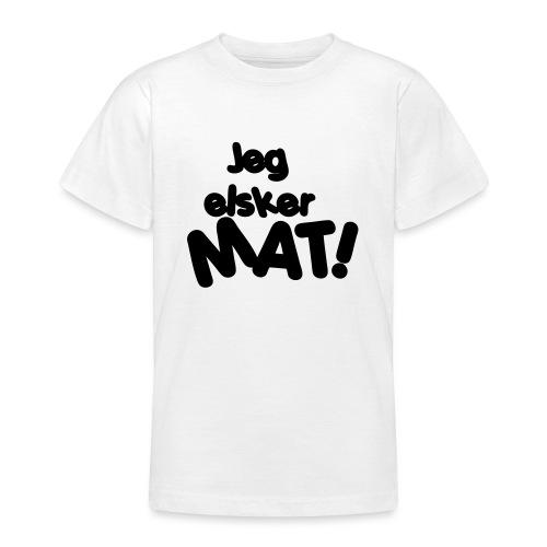 Jeg elsker mat - T-skjorte for tenåringer
