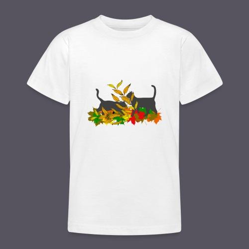 spielende Katzen in bunten Blättern - Teenager T-Shirt