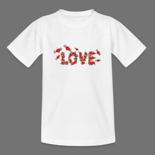 Flying Hearts LOVE - Teenager-T-shirt