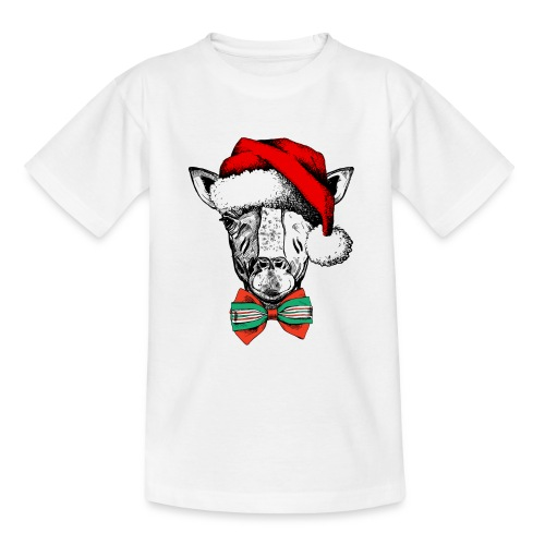 Christmas Giraffe - Teenage T-Shirt