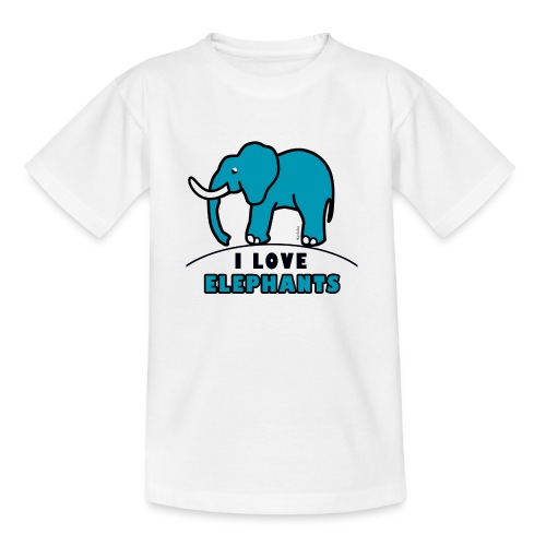 Blauer Elefant - I LOVE ELEPHANTS - Teenager T-Shirt