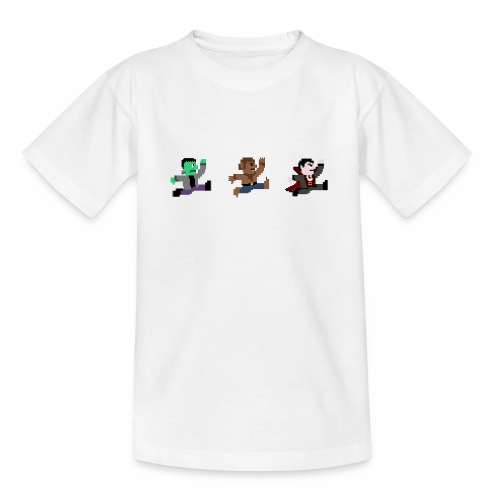 8-Bit Halloween Frankenstein Werewolf Vampire - Teenage T-Shirt