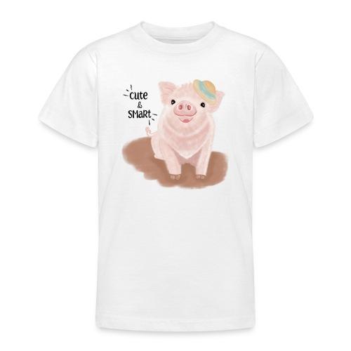 Cute & Smart Pig - Teenage T-Shirt