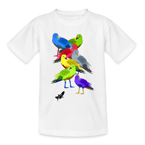 Seagulls by BlackenedMoonArts, with logo - Teenager-T-shirt