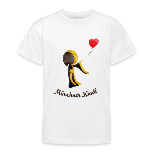 Münchner Kindl mit Herz-Luftballon und Text dunkel - Teenager T-Shirt