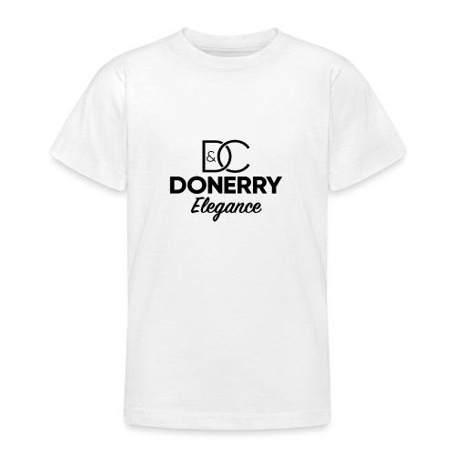 Donerry Elegance Black Logo on White - Teenage T-Shirt