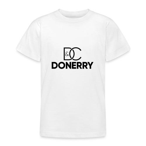 DONERRY Black Logo on White - Teenage T-Shirt