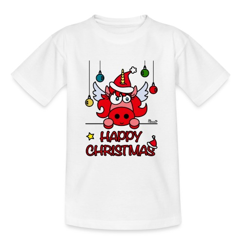 Unicorn Happy Christmas, Licorne Noël - T-shirt Ado