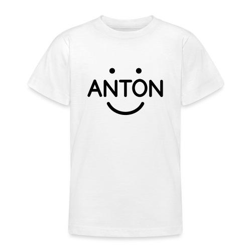 ANTON Smile-Logo schwarz auf weiß - Teenager T-Shirt