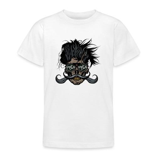 hipster skull tete de mort crane barbu moustache - T-shirt Ado