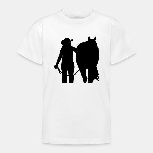 Westernreiterin mit Pferd individualisierbar - Teenager T-Shirt
