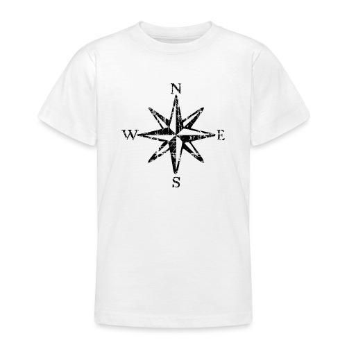 Windrose Segel Segeln Segler Vintage Schwarz-Weiß - Teenager T-Shirt
