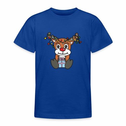 Rentier mit Lichterkette - Teenager T-Shirt