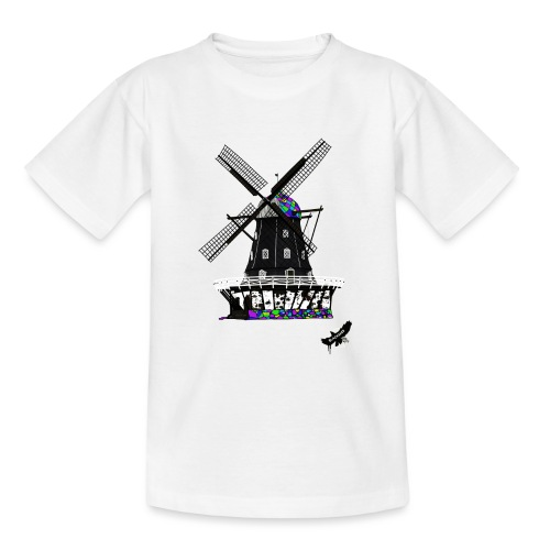 Windmill by BlackenedMoonArts, with logo - Teenager-T-shirt