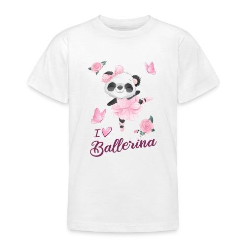 oso panda ballerina con mariposa y rosas - Camiseta adolescente