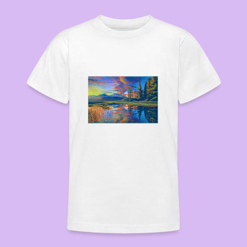 Paesaggio al tramonto con laghetto stilizzato - Maglietta per ragazzi