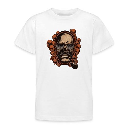 tete de mort hipster skull crane pipe moustache fa - T-shirt Ado