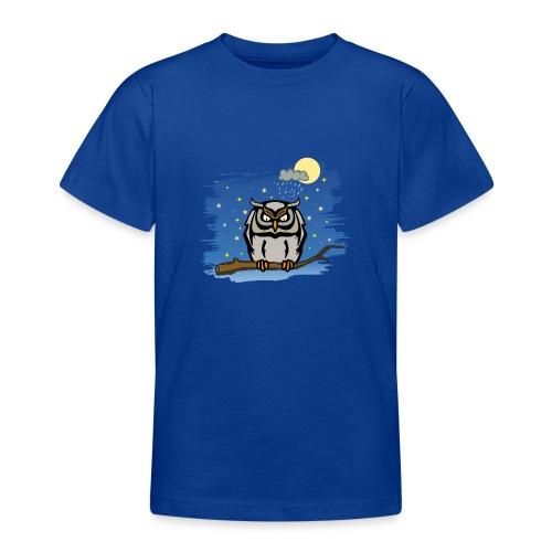 Eule Uhu Nachtschwärmer Vollmond Regenwolke Sterne - Teenager T-Shirt