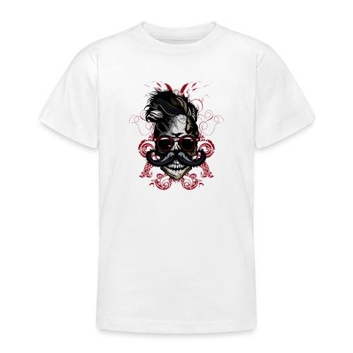 tete de mort hipster fioriture crane skull moustac - T-shirt Ado
