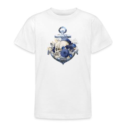 Totenkopf Blumenanker - Teenager T-Shirt