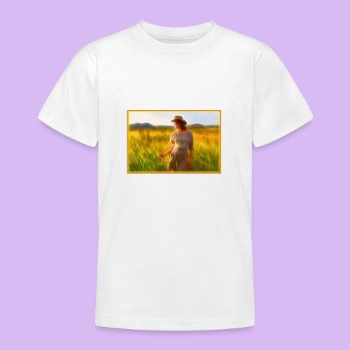 Donna tra gli steli d' erba - Maglietta per ragazzi