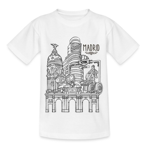 MADRID COLLAGE NEGRO - Camiseta adolescente