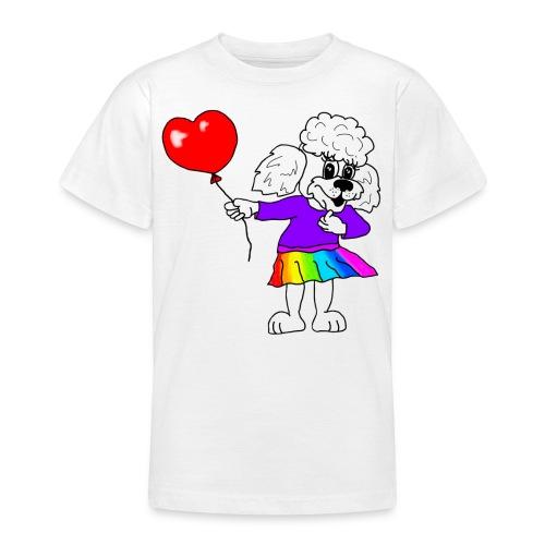 Pudelmädchen mit Herz-Luftballon - Teenager T-Shirt